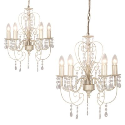 2 x Distressed White Shabby Chic 5 Way Ceiling Light Chandeliers 2 x Distressed White Shabby Chic 5 Way Ceiling Light Chandeliers 2 x Distressed White Shabby Chic 5 Way Ceiling Light Chandeliers 0 400x400