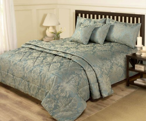 6 Piece Jacquard Blue Amp Gold Bedding Double Duvet Set