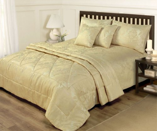 6 Piece Jacquard Gold Bedding King Size Duvet Set
