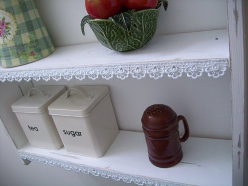 60cm Shabby Chic Shelves With Lace Trim Shelf Bookcase