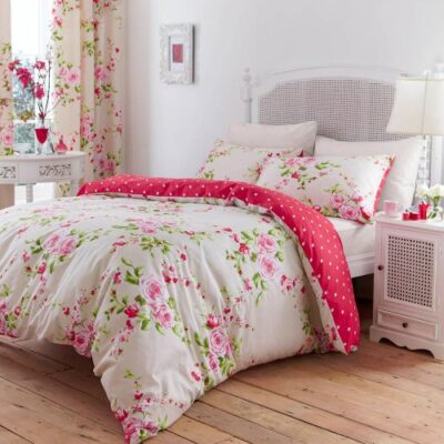 Canterbury Floral Red & Cream Single Duvet Cover Bedding Set Catherine Lansfield Canterbury Single Duvet Set Canterbury Floral Red Cream Single Duvet Cover Bedding Set 0 400x400