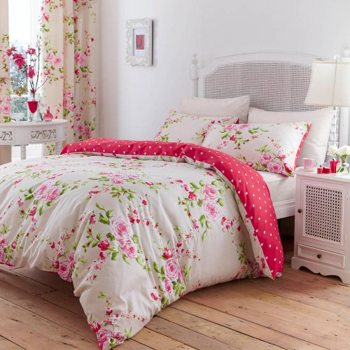 Canterbury Floral Red Amp Cream Single Duvet Cover Bedding Set