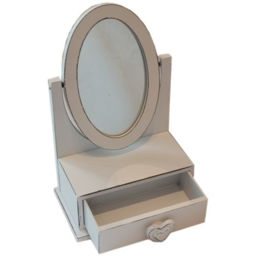 Childrens Small Aged Look Dressing Table Mirror With Jewellery