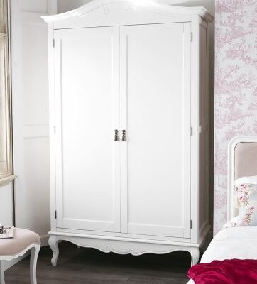 Juliette Shabby Chic Antique White Double Wardrobe Juliette Shabby Chic Antique White Double Wardrobe. Stunning spacious white French wardrobe with top shelf and hanging rail. Juliette Shabby Chic Antique White Double Wardrobe 0 362x400