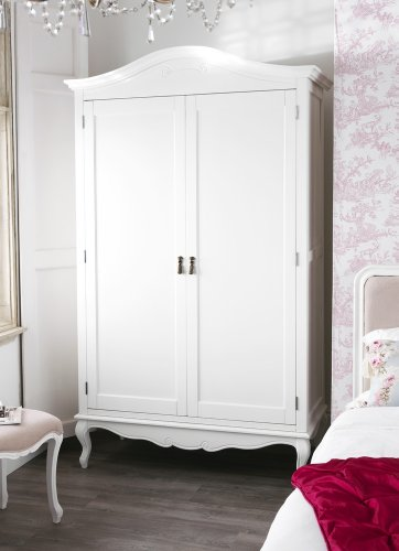 Juliette Shabby Chic Antique White Double Wardrobe Juliette Shabby Chic Antique White Double Wardrobe. Stunning spacious white French wardrobe with top shelf and hanging rail. Juliette Shabby Chic Antique White Double Wardrobe 0