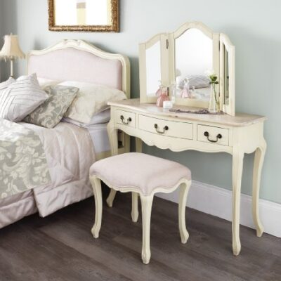 Juliette Shabby Chic Champagne Dressing Table ONLY Juliette Shabby Chic Champagne Dressing Table ONLY. Stunning cream dressing table with limend finish top. Stool and Mirror NOT included. Juliette Shabby Chic Champagne Dressing Table ONLY 0 400x400