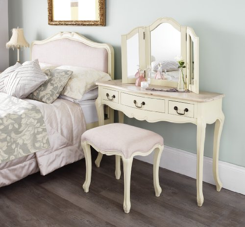 Juliette Shabby Chic Champagne Dressing Table ONLY Juliette Shabby Chic Champagne Dressing Table ONLY. Stunning cream dressing table with limend finish top. Stool and Mirror NOT included. Juliette Shabby Chic Champagne Dressing Table ONLY 0
