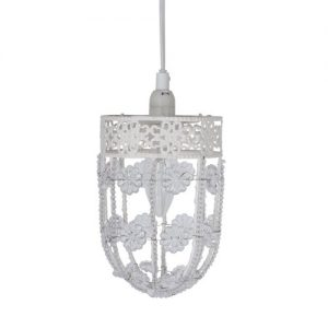 Modern Decorative Shabby Chic Metal Ornate Pendant Ceiling Light Fitting Modern Gloss White Metal Ornate Pendant With Beautiful Acrylic Flowers And Decorative Beaded Design Light Fitting – With Ceiling Rose And Flex Modern Decorative Shabby Chic Metal Ornate Pendant Ceiling Light Fitting 0 300x300