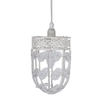 Modern Decorative Shabby Chic Metal Ornate Pendant Ceiling Light Fitting Modern Gloss White Metal Ornate Pendant With Beautiful Acrylic Flowers And Decorative Beaded Design Light Fitting – With Ceiling Rose And Flex Modern Decorative Shabby Chic Metal Ornate Pendant Ceiling Light Fitting 0 400x400
