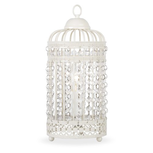 Ornate Metal Framed Birdcage Table Lamp In A Shabby Chic