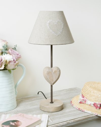 shabby chic wooden country style table lamp with heart and linen heart. Black Bedroom Furniture Sets. Home Design Ideas