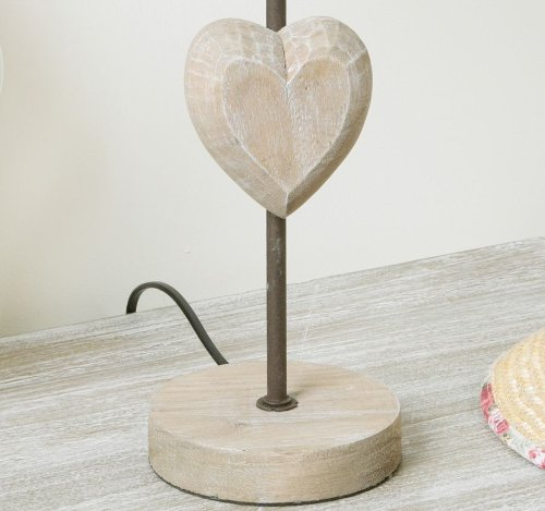 shabby chic wooden country style table lamp with heart and. Black Bedroom Furniture Sets. Home Design Ideas