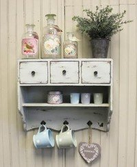 Shabby Chic Wooden Vintage White Wall Unit Cupboard Rack 3