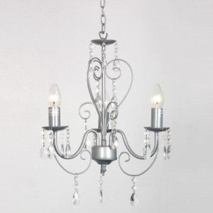 Silver shabby chic 3 way ceiling light chandelier silver shabby chic 3 way ceiling light chandelier grey ornate vintage style shabby chic 3 way aloadofball Image collections