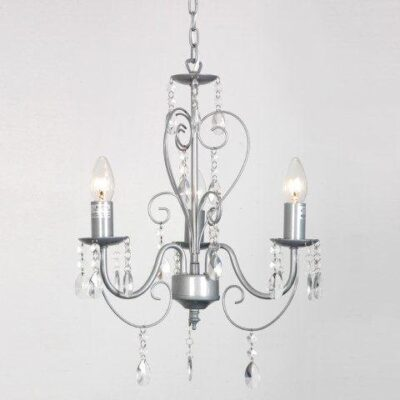 Silver Shabby Chic 3 Way Ceiling Light Chandelier Grey Ornate Vintage Style Shabby Chic 3 Way Ceiling Light Chandelier With Beautiful Acrylic Jewels Silver Shabby Chic 3 Way Ceiling Light Chandelier 0 400x400