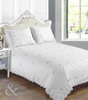 VINTAGE LACE Luxury Cotton Blend Embroidered Duvet Quilt Cover Bedding Bed Set Broderie Anglaise - White King Size ( kingsize ) Just Contempo Broderie Anglaise Duvet Cover Set, King, White VINTAGE LACE Luxury Cotton Blend Embroidered Duvet Quilt Cover Bedding Bed Set Broderie Anglaise White King Size kingsize 0 300x342