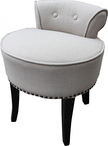 Casa Padrino Design Stool Chair Made Of Solid Oak Linen