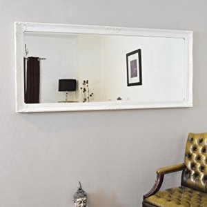 Large White Wall Mirror large white bevelled full length dressing wall mirror 5ft6 x 2ft6