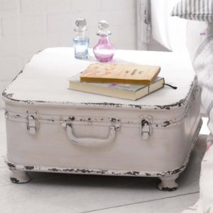 Coffee Table Side Table Quot Suitcase Quot With Storage Shabby Chic Metal White