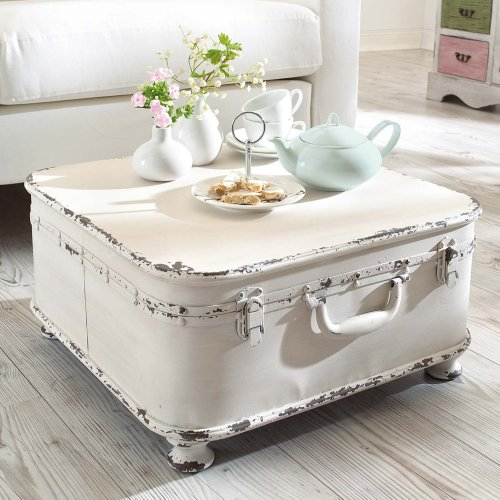 coffee table side table suitcase with storage shabby chic metal white. Black Bedroom Furniture Sets. Home Design Ideas