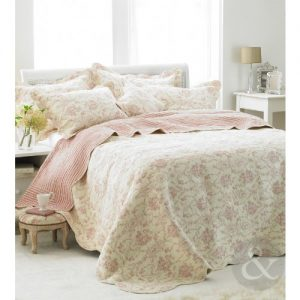 French Vintage Toile Pink Bedspread Luxury 100 Cotton