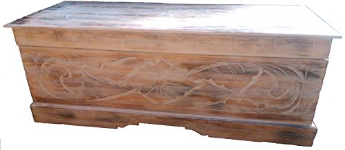 Large Hand Carved Wooden Chest Ottoman Coffee Table