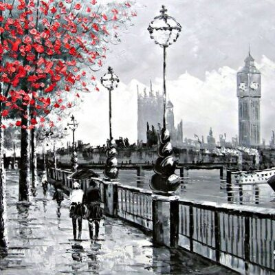 Art shabby chic london Shabby Chic London London street scene View Of Big Ben From The South Bank and The River Thames Fine Art oil on canvas painting Superb quality and craftsmanship hand made wall art 0 400x400