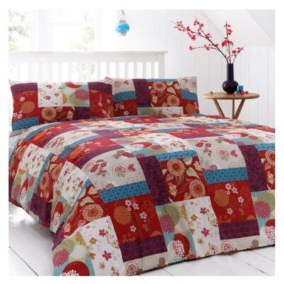 Just Contempo King Size Duvet Cover ( kingsize girls shabby chic Poly Cotton ORIENTAL BEDDING Patchwork Duvet Cover Red Purple Floral Bed Quilt Cover Set, Multi-colour Just Contempo Oriental Patchwork Duvet Cover, King, Red ORIENTAL BEDDING Patchwork Duvet Cover Red Purple Floral Bed Quilt Cover Set King Size Duvet Cover kingsize girls shabby chic 0 400x400