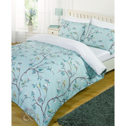 Shabby Chic Bird Tree Bed Set - White Teal Blue Duvet Cover With Fitted Sheet Just Contempo Birds Duvet Cover Set, Single, Blue SHABBY CHIC BIRD TREE BED SET White Teal Blue Duvet Cover with Fitted Sheet Aqua Blue Teal White Single Duvet Cover girls bedroom 0