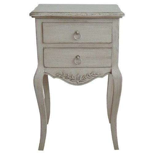 Shabby Chic French Cream 2 Drawer Bedside Lamp Telephone