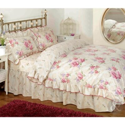 Vintage Floral Frilled Duvet Cover - Cream Beige Pink Bedding Set + Pillow Cases Just Contempo Floral Frilled Duvet Cover Set, Double, Pink VINTAGE FLORAL ROSE DUVET COVER Cotton Blend Cream Beige Pink Bedding Bed Set Pink Cream Beige Double Duvet Cover shabby chic 0 400x400