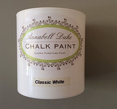 """Chalk white"" Shabby Chic furniture paint by Annabell Duke 1 litre RRP £18.95 ""Chalk white"" Shabby Chic furniture paint by Annabell Duke 1 litre RRP £18.95 Chalk white Shabby Chic furniture paint by Annabell Duke 1 litre RRP 1895 0 400x373"