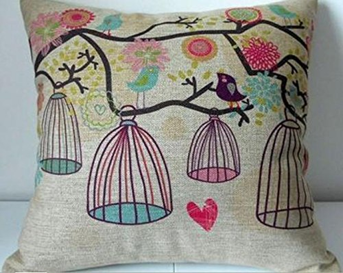 "Cotton Linen Square Decorative Throw Pillow Case Cushion Cover Bird and Birdcage 18 ""X18 "" Cotton Linen Square Decorative Throw Pillow Case Cushion Cover Bird and Birdcage 18 ""X18 "" Cotton Linen Square Decorative Throw Pillow Case Cushion Cover Bird and Birdcage 18 X18 0"