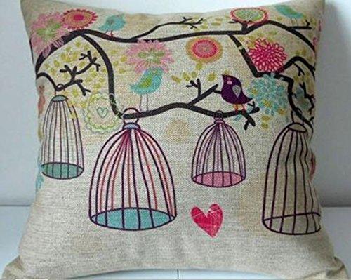 "Cotton Linen Square Decorative Throw Pillow Case Cushion Cover Bird and Birdcage 18 ""X18 "" Cotton Linen Square Decorative Throw Pillow Case Cushion Cover Bird and Birdcage 18 ""X18 "" Cotton Linen Square Decorative Throw Pillow Case Cushion Cover Bird and Birdcage 18 X18 0"