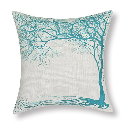 Euphoria Home Decorative Cushion Covers Pillows Shell Cotton Linen Blend Vintage Big Old Tree Teal Color 45 X 45cm CaliTime Cushion Cover Throw Pillow Shell Vintage Big Old Tree 45 X 45cm Teal Euphoria Home Decorative Cushion Covers Pillows Shell Cotton Linen Blend Big Old Tree Teal 18 X 18 0