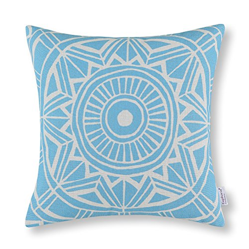 Euphoria Home Decorative Cushion Covers Pillows Shell Cotton Linen Blend Compass Geometric Light Blue Color 45cm X 45cm Euphoria Home Decorative Cushion Covers Pillows Shell Cotton Linen Blend Geometric Compass 45 cm x 45 cm, Cotton, bright blue, 45 x 45 cm Euphoria Home Decorative Cushion Covers Pillows Shell Cotton Linen Blend Compass Geometric Blue Color 18 X 18 0