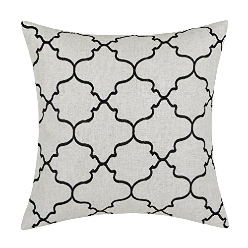 Euphoria Home Decorative Cushion Covers Pillows Shell Linen Blend Embroidery Big Trellis Chain Accent Black 43 X 43cm Euphoria CaliTime Home Decor Cushion Covers Throw Pillows Shell Linen Blend Embroidery Trellis Chain Accent 43 X 43cm Dark Grey Euphoria Home Decorative Cushion Covers Pillows Shell Linen Blend Embroidery Big Trellis Chain Accent Black 17 X 17 0