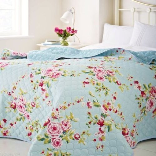 Large Country Cottage Shabby Floral Blue Pink 240 X 260