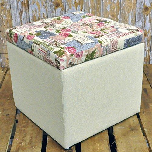32cm Shabby Chic Floral Rose Cream Fabric Covered Footstool Storage Stool Box 32cm Shabby Chic Floral Rose Cream Fabric Covered Footstool Storage Stool Box 0