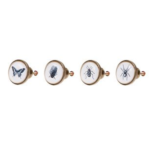 4 vintage chic drawer knobs natural insects cabinet handles cupboard