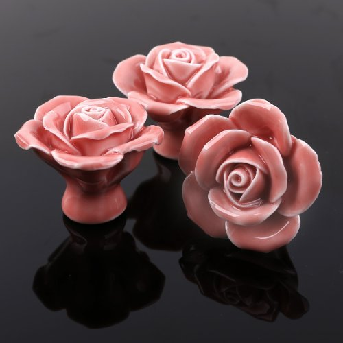 8pcs Pink Ceramic Vintage Floral Rose Door Knobs Handle