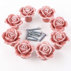 8pcs Pink Ceramic Vintage Floral Rose Door Knobs Handle