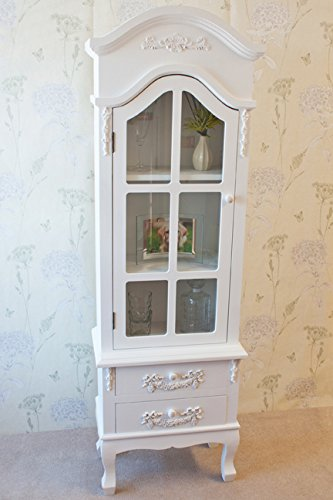 Beautiful Vintage Style Casamore Limoges Tall Display Cabinet with Casing Sways – White Finish Beautiful Vintage Style Casamore Limoges Tall Display Cabinet with Casing Sways White Finish 0