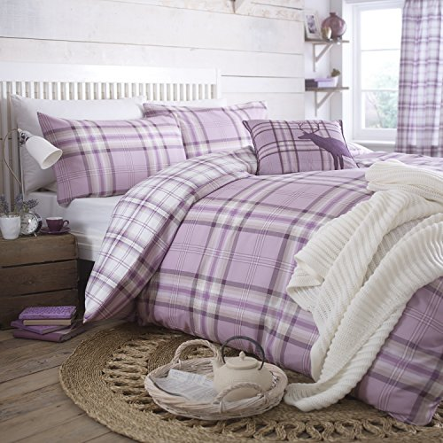 catherine lansfield kelso cotton bed linen set double size lilac french style - Liliac Bedding