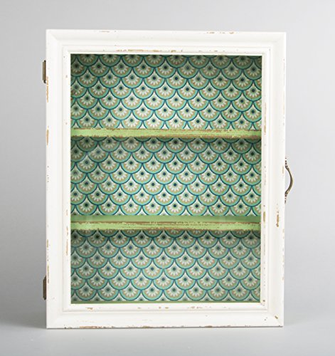 Cream Green Wooden Glass Wall Display Cabinet Shelf Unit Shabby Chic Vintage Cream Green Wooden Glass Wall Display Cabinet Shelf Unit Shabby Chic Vintage 0