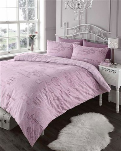 Elegant French Script Pink Duvet Cover Bed Set