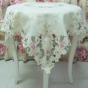 FADFAY Home Textile,Elegant Shabby Vintage Floral Table Overlays For Weddings,Pink Rose Embroidered Tablecloth,Sweet Cherry Blossom Table Clothes FADFAY Home TextileElegant Shabby Vintage Floral Table Overlays For WeddingsPink Rose Embroidered TableclothSweet Cherry Blossom Table Clothes 0 300x300