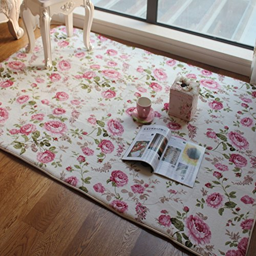 fadfay home textile romantic american country style floral room floor mats sweet pink rose print. Black Bedroom Furniture Sets. Home Design Ideas