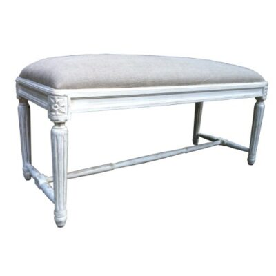French Shabby Chic Style hand carved Bed End Bench. Upholstery in Natural Linen. French Shabby Chic Style hand carved Bed End Bench. Upholstery in Natural Linen. French Shabby Chic Style hand carved Bed End Bench Upholstery in Natural Linen 0 400x400