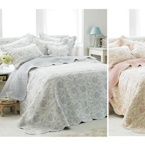 French Vintage Toile Bedspread Luxury 100 Cotton Soft